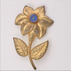 Mid Century Blue Rhinestone Flower Ornate Brooch
